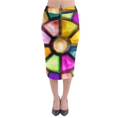Glass Colorful Stained Glass Midi Pencil Skirt