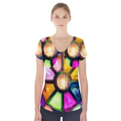 Glass Colorful Stained Glass Short Sleeve Front Detail Top