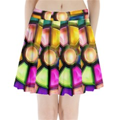 Glass Colorful Stained Glass Pleated Mini Skirt