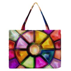 Glass Colorful Stained Glass Medium Zipper Tote Bag