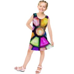 Glass Colorful Stained Glass Kids  Tunic Dress