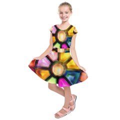Glass Colorful Stained Glass Kids  Short Sleeve Dress