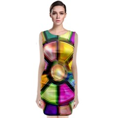 Glass Colorful Stained Glass Sleeveless Velvet Midi Dress