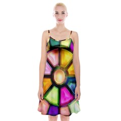Glass Colorful Stained Glass Spaghetti Strap Velvet Dress