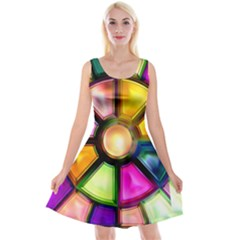 Glass Colorful Stained Glass Reversible Velvet Sleeveless Dress