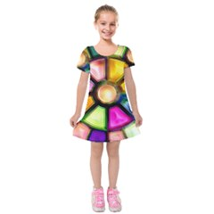 Glass Colorful Stained Glass Kids  Short Sleeve Velvet Dress