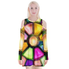 Glass Colorful Stained Glass Velvet Long Sleeve Shoulder Cutout Dress