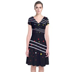 Elegant abstraction Short Sleeve Front Wrap Dress