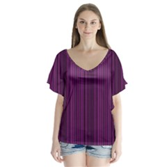 Deep purple lines Flutter Sleeve Top
