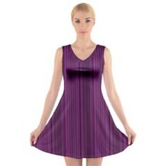 Deep purple lines V-Neck Sleeveless Skater Dress