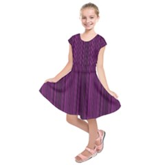 Deep purple lines Kids  Short Sleeve Dress