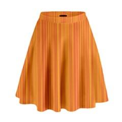 Orange pattern High Waist Skirt