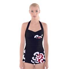 Elegant abstraction Boyleg Halter Swimsuit