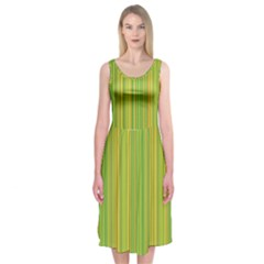 Green lines Midi Sleeveless Dress
