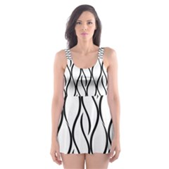 Black and white elegant pattern Skater Dress Swimsuit