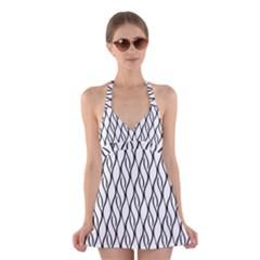 Black and white elegant pattern Halter Swimsuit Dress