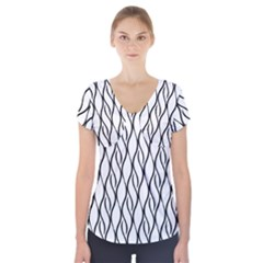 Black and white elegant pattern Short Sleeve Front Detail Top