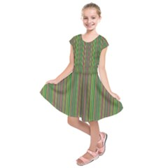 Green lines Kids  Short Sleeve Dress