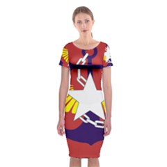 Flag of The Myanmar Armed Forces Classic Short Sleeve Midi Dress