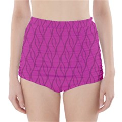 Magenta pattern High-Waisted Bikini Bottoms