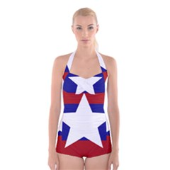 Flag of the Bureau of Special Operations of Myanmar Army Boyleg Halter Swimsuit