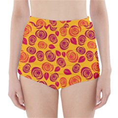 Orange roses High-Waisted Bikini Bottoms