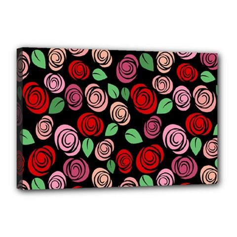 Red and pink roses Canvas 18  x 12