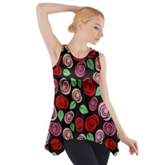 Red and pink roses Side Drop Tank Tunic