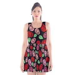 Red and pink roses Scoop Neck Skater Dress