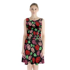 Red and pink roses Sleeveless Chiffon Waist Tie Dress