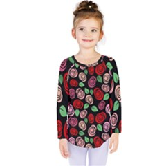 Red And Pink Roses Kids  Long Sleeve Tee