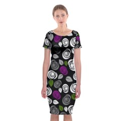 Purple roses pattern Classic Short Sleeve Midi Dress