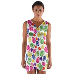 Colorful roses Wrap Front Bodycon Dress