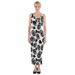 Black roses pattern Fitted Maxi Dress