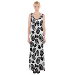 Black roses pattern Maxi Thigh Split Dress