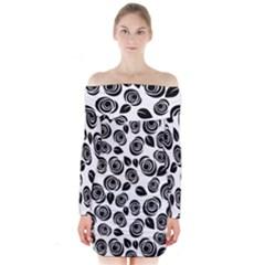 Black roses pattern Long Sleeve Off Shoulder Dress