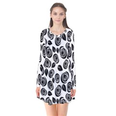 Black roses pattern Flare Dress