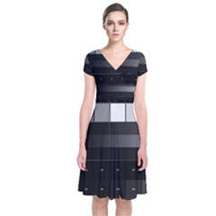 Grayscale Test Pattern Short Sleeve Front Wrap Dress