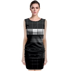 Grayscale Test Pattern Sleeveless Velvet Midi Dress