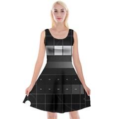 Grayscale Test Pattern Reversible Velvet Sleeveless Dress