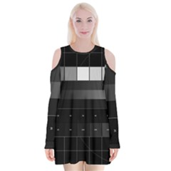 Grayscale Test Pattern Velvet Long Sleeve Shoulder Cutout Dress