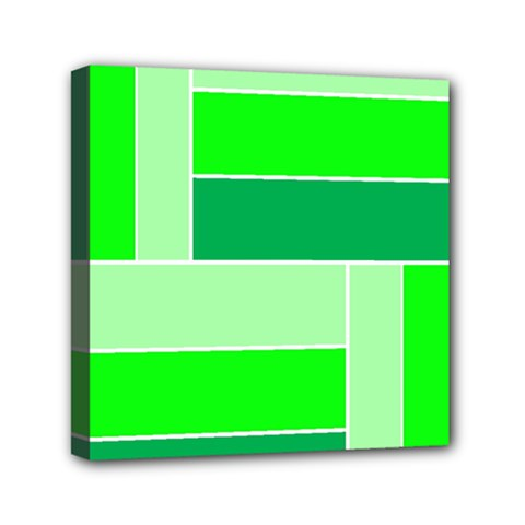 Green Shades Geometric Quad Mini Canvas 6  x 6
