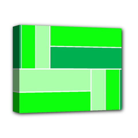 Green Shades Geometric Quad Deluxe Canvas 14  x 11