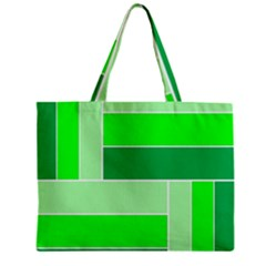 Green Shades Geometric Quad Zipper Mini Tote Bag