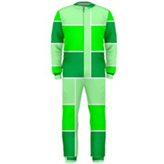 Green Shades Geometric Quad OnePiece Jumpsuit (Men)