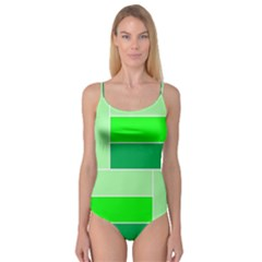 Green Shades Geometric Quad Camisole Leotard