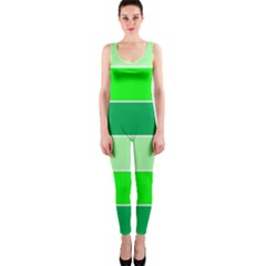 Green Shades Geometric Quad OnePiece Catsuit