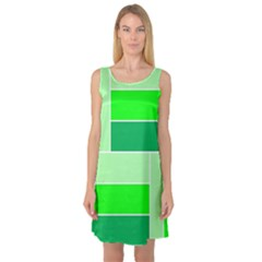 Green Shades Geometric Quad Sleeveless Satin Nightdress
