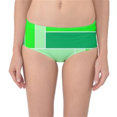 Green Shades Geometric Quad Mid-Waist Bikini Bottoms