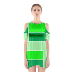Green Shades Geometric Quad Shoulder Cutout One Piece